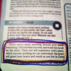 don't worry about anything instead pray about everything