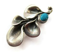 SOLD. Vintage turquoise colour stone and sterling silver modernist brooch, organic sculptural design, teal blue jewellery. https://www.etsy.com/inglenookery/listing/263936828/vintage-turquoise-colour-stone-and