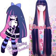 Panty&Stocking With Garterbelt Blue&Pink 100Cm Long Straight Hair Cosplay Wigs