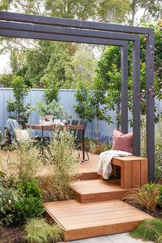Wooden Steps Outdoor, Diy Outdoor Bar, Wooden Decks, Outdoor Areas, Outdoor Dining, Outdoor Decor, Patio, Backyard, Weeds In Lawn