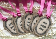 Live Laugh Love - Set of 10 Magenta Pink Vintage Style Positivity Tags - Ideal for Wedding Favors, Baby Showers, Bachelorette