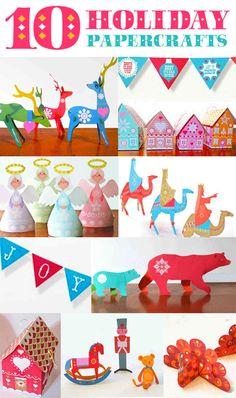 10 holiday printables: 10 holiday printables: Reindeer, Three kings, Angels, Polar bears, Turkeys, Classic toys, gift box. cookie box, Retro xmas and Joyeux noel garland.