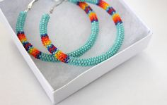 Large Native Beaded Hoops Earring  SALE