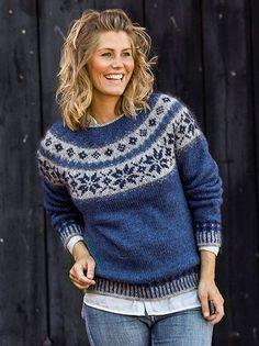Sweater med stjernebort i Håndværksgarn Fair Isle Knitting Patterns, Jumper Patterns, Fair Isle Pattern, Sweater Knitting Patterns, Hand Knitting, Icelandic Sweaters, Nordic Sweater, Pulls, Knitwear