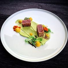"""inking the Culinary World (@cookniche) on Instagram: """"@cookniche Tuna • goma wakame • beet • peas • sea buckthorn • sesame by Chef Tony Persson…"""""""