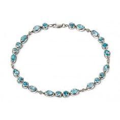 BLUE TOPAZ AND DIAMOND 0.03ct  White Gold 18cm Bracelet