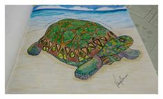 Turtle by @milliemarotta |  coloured by @vaniarbarros | #turtlemilliemoratta #animalkingdom #coloringbook #umaaventuradecolorir