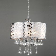 @Overstock - Class up any dark corners with this shimmering four-light chandelier. This chrome light features a glistening finish on the shade and sparkling crystal accents.http://www.overstock.com/Home-Garden/Indoor-4-light-Chrome-Crystal-Chandelier/5244434/product.html?CID=214117 $164.99