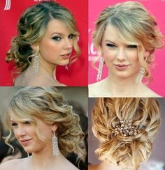 My wedding hair! Loose, low curly updo with bangs to the side and crystal embellished hair comb or hairpins.