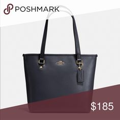 """Coach leather tote bag Details :Crossgrain leather Inside zip, cell phone and multifunction pocket Zip-top closure, fabric lining Outside zip pocket Handles with 8 3/4"""" drop 13 1/2"""" (L) x 10 3/4"""" (H) x 5"""" (W) Coach Bags Totes"""