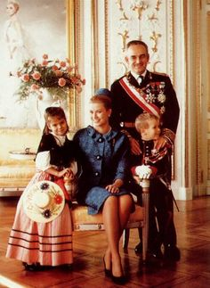 Prince Rainier III,Princess Grace,Princess Caroline & Prince Albert of Monaco.