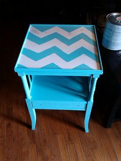 I really enjoyed painting this table with Chevron strips.. Create Beautiful by: Carol Penhale find me on fb..