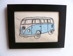 Pale blue VW Campervan-Freehand machine embroidery and applique picture.. £15.00, via Etsy.