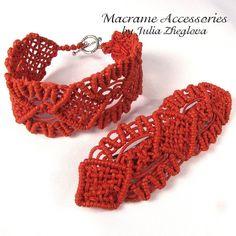 Macrame Bracelet and Hairclip Red Set by makrame on Etsy, $30.00
