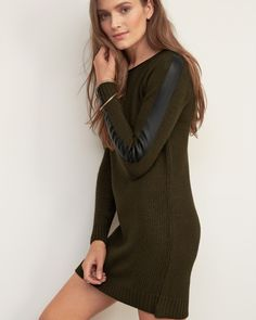 Womens Faux Leather Trim Sweater Dress | Military-inspired silhouette with zipper detailing on sides, front pockets finished with utility stitch detailing, Classic Fit | Abercrombie.com