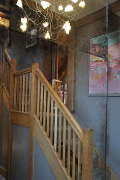Oak staircase with contemporary painting