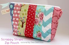 Scrappy Fabric Strip Zipper Pouch - Tutorial - Sew Delicious