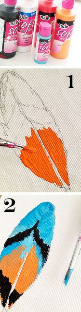 excellent tutorial and concept of faux feathers on fabric as charms or can be used as embellishments
