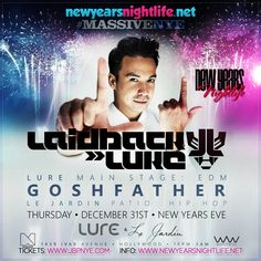 Spend your NYE right and join Laidback Luke as LURE Nightclub looks to start 2016 with a big bang. Act fast and purchase early bird NYE Tickets at discounted pricing available now online at www.jbpnye.com -- Get on these before the ticket prices go up. Limited table reservations are available so book early to get in on the celebration that promises to greet 2016 in a rarefied way. Make your plans, mark your calendars and get ready for the biggest EDM NYE Party in L.A. for New Year's Eve…
