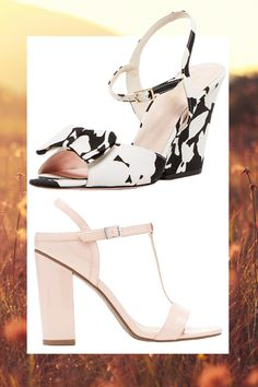 Black and White Printed Wedge Sandal, KATE SPADE (Available at Bloomingdales), $350; Pale Pink Patent Leather T-Strap Sandal, FOREVER 21, $30   - Cosmopolitan.com
