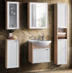 Moderná kúpeľňová zostava vyrobená z kvalitnej LTD. Korpusy a dvierka sú vo farbe dub sonoma s bielou. Zostava sa skladá z piatich dielov.
