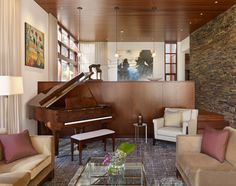 Staggering Grand Piano decorating ideas for Artistic Living Room Modern design ideas with accent wall armchair Art carpet glass table pendant light piano sofa stone