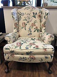 White Floral Wingback Chair With Queen Anne Legs   $100.00