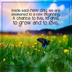 Inside each new day we are awakened to a new beginning.