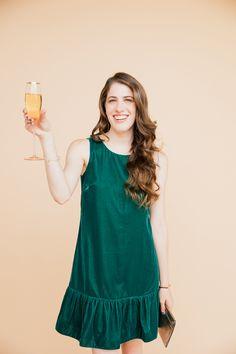 Brooke du jour | J.Crew green velvet dress