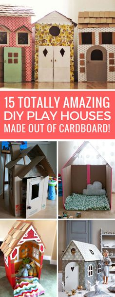 Wow! These DIY cardboard playhouses are amazing - the kids will want to sleep in there!