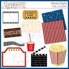 Movie Night clipart includes blank ticket, chocolate bar, clapper, movie ticket, movie strip, movie sign, popcorn, sign.  Would be really great for a movie themed birthday party, use them on invitations, printables and other paper crafts.  Bonus 2 8x8 papers too!