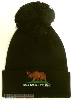 5af7c917387 CALI CA CALIFORNIA REPUBLIC FLAG BEAR WINTER WARM POM BEANIE KNIT CAP SKI  HAT OS