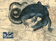 Blue Croc. Original Mail Art by Nick Bantock.