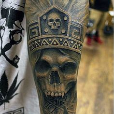 Male Fulls Sleeves Black And White Skull Tattoo