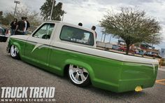 2008 Bring The Noize Truck Show Lowered Mini Truck   Great example of a two tone.. Green/off white