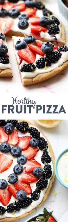 Healthy Snacks For Kids Learn how to make a healthy fruit pizza with a grain-free sugar cookie crust and a delicious lemony Greek yogurt filling -- the perfect healthy treat for summer! Healthy Fruits, Healthy Sweets, Healthy Dessert Recipes, Health Desserts, Delicious Desserts, Diabetic Desserts, Healthy Dinners, Healthy Snacks, Heart Healthy Desserts