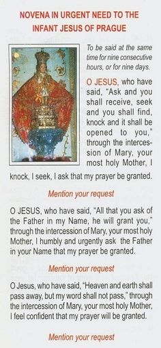 Novena in urgent need to The Infant of Prague Novena Prayers, Catholic Prayers, Faith Prayer, My Prayer, Prayer Board, Novenas Catholic, Miracle Prayer, Special Prayers, Inspirational Prayers