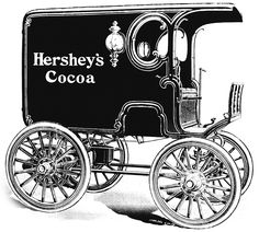 Milton Hershey loved new and cutting-edge inventions, so in he purchased the first electric automobile in Lancaster and used the Riker Electric to promote his business and deliver product. Hershey Candy, Hershey Cocoa, Hershey Chocolate, Chocolate Men, Chocolate Company, Chocolate Heaven, Milton Hershey, Electric Cars, Electric Vehicle