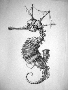 seahorse by . - seahorse by . Body Art Tattoos, Tattoo Drawings, Art Drawings, Weird Drawings, Steampunk Kunst, Steampunk Drawing, Arte Sketchbook, Desenho Tattoo, Arte Horror
