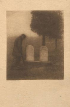 Third annual exhibition: pictorial photography / Buffalo Camera Club.  Pictorialist Photography Exhibition Catalogs, 1891-1914. The Metropolitan Museum of Art, New York. Joyce F. Menschel Photography Library, Department of Photographs (b12521942)   This haunting 1905 photograph captures a man alone in a graveyard. #photography