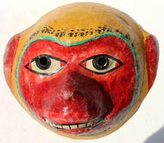 Vintage Paper Mache Mask Yellow Red Color Monkey Hand Made and Hand Painted | eBay