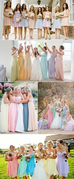 I really like the look of different color dresses - mint, pink, (and blue or purple) would be super cute for Courtney's deal.