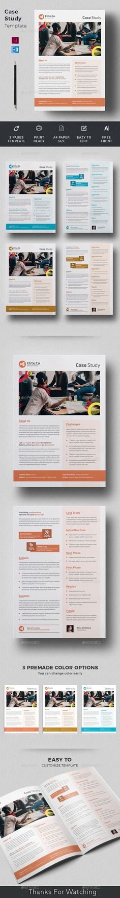 Case Study Template, Page Template, Flyer Template, Templates, A4 Paper, Paper Size, Printed Portfolio, Change Image, Editorial Design