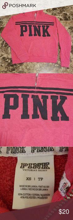 Pink sweatshirt PINK half-zip sweatshirt with pocket. Very soft on the inside. Great condition. Fits like a small.  Smoke-free home PINK Tops Sweatshirts & Hoodies