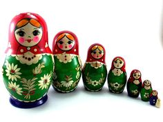 Nesting Dolls 8 pcs Russian matryoshka Babushka doll for kids set Wooden stacking authentic genuine toys Birthday gift for mom Inlaid