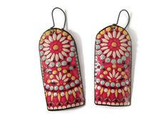 Colorful Earrings, Recycled Tin, Vintage, Boho Chic, Floral, Red, Mexican, Southwestern by TinMoonJewelryworks on Etsy https://www.etsy.com/listing/236683220/colorful-earrings-recycled-tin-vintage