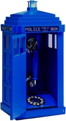 Want!!!!!.the light flashes on top when it rings. Who wouldn't want a Tardis phone?