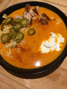 Hot tomato soup with chicken. Don't forget the jalapeñoes some Cheyenne pepper and pastas.