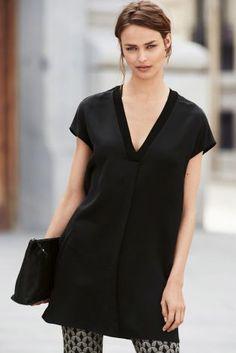 Buy Black Satin V-Neck Tunic from the Next UK online shop Capsule Wardrobe Work, Next Uk, Black Satin, Uk Online, Dresses For Work, Tunic, Stuff To Buy, Shopping, Fashion