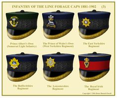 British; Infantry Officer's Forage Caps 1881-1902. NB Prince Albert's Own(Somerset Light Infantry) discontinued wearing the round forage cap in 1897